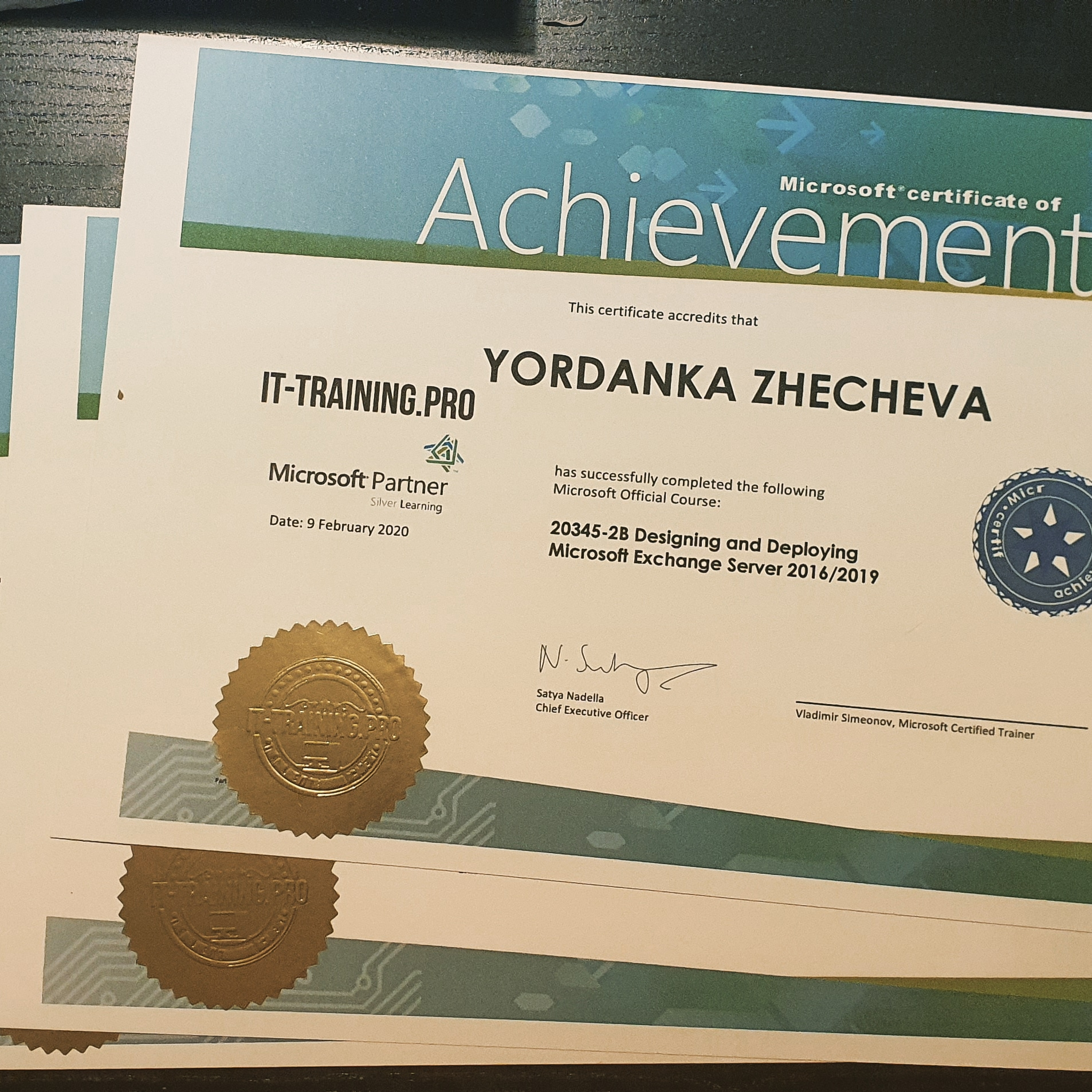Course 20345-2 Designing and Deploying Exchange Server 2016/2019 Certificates of Completion