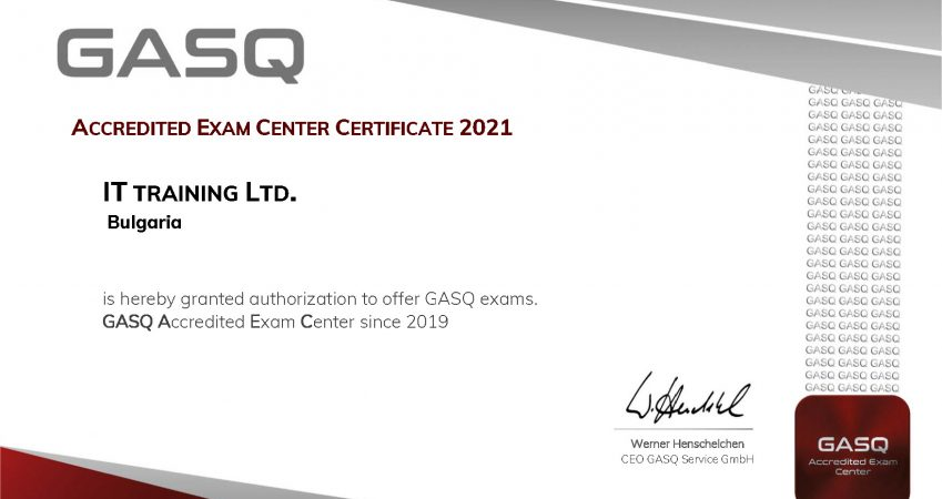 ISTQB Test Center for 2021 (Acredited by GASQ)